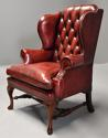 Pair of Georgian style deep buttoned red leather wing armchairs - picture 8