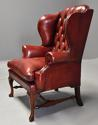 Pair of Georgian style deep buttoned red leather wing armchairs - picture 9
