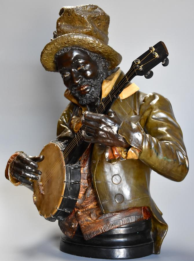 19th century life size terracotta 'Banjo Player' After Pietro Calvi