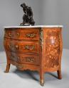 French walnut & Kingwood floral marquetry commode with marble top - picture 1