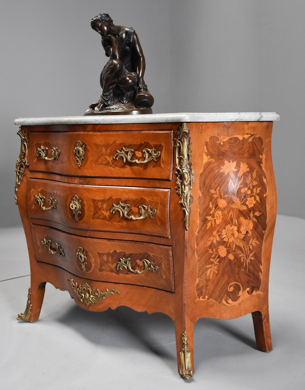 French walnut & Kingwood floral marquetry commode with marble top