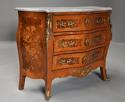 French walnut & Kingwood floral marquetry commode with marble top - picture 2