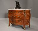 French walnut & Kingwood floral marquetry commode with marble top - picture 3