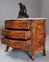 French walnut & Kingwood floral marquetry commode with marble top - picture 7