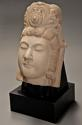 Late 19thc highly decorative carved marble head of Guan Yin - picture 1