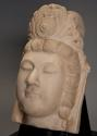 Late 19thc highly decorative carved marble head of Guan Yin - picture 2