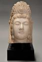 Late 19thc highly decorative carved marble head of Guan Yin - picture 3