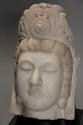 Late 19thc highly decorative carved marble head of Guan Yin - picture 4