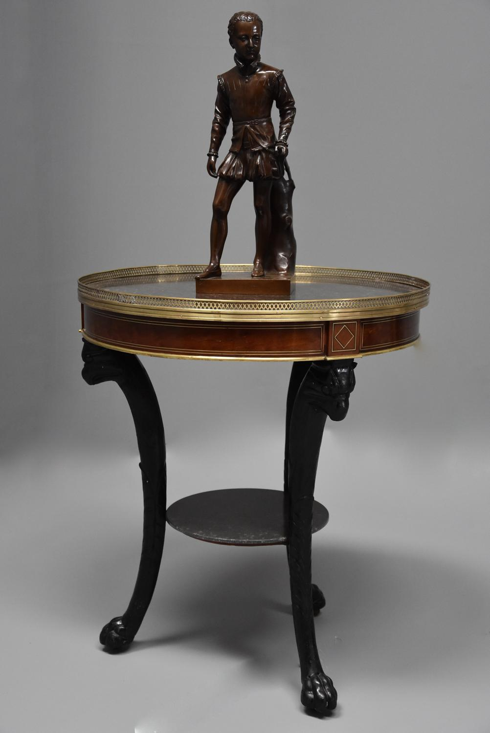Late 18thc French Empire mahogany and marble gueridon table