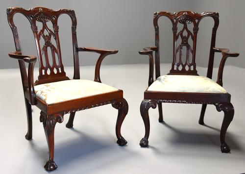 Pair of fine quality 19thc mahogany Chippendale style armchairs