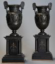 Pair of 19thc Grand Tour style bronze 'Townley Vases' on slate plinths - picture 1