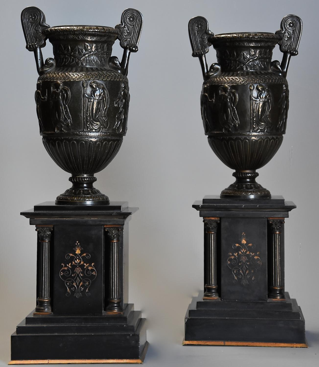 Pair of 19thc Grand Tour style bronze 'Townley Vases' on slate plinths