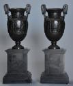 Pair of 19thc Grand Tour style bronze 'Townley Vases' on slate plinths - picture 11