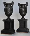Pair of 19thc Grand Tour style bronze 'Townley Vases' on slate plinths - picture 2