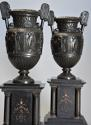 Pair of 19thc Grand Tour style bronze 'Townley Vases' on slate plinths - picture 3