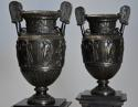 Pair of 19thc Grand Tour style bronze 'Townley Vases' on slate plinths - picture 4