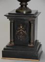 Pair of 19thc Grand Tour style bronze 'Townley Vases' on slate plinths - picture 9