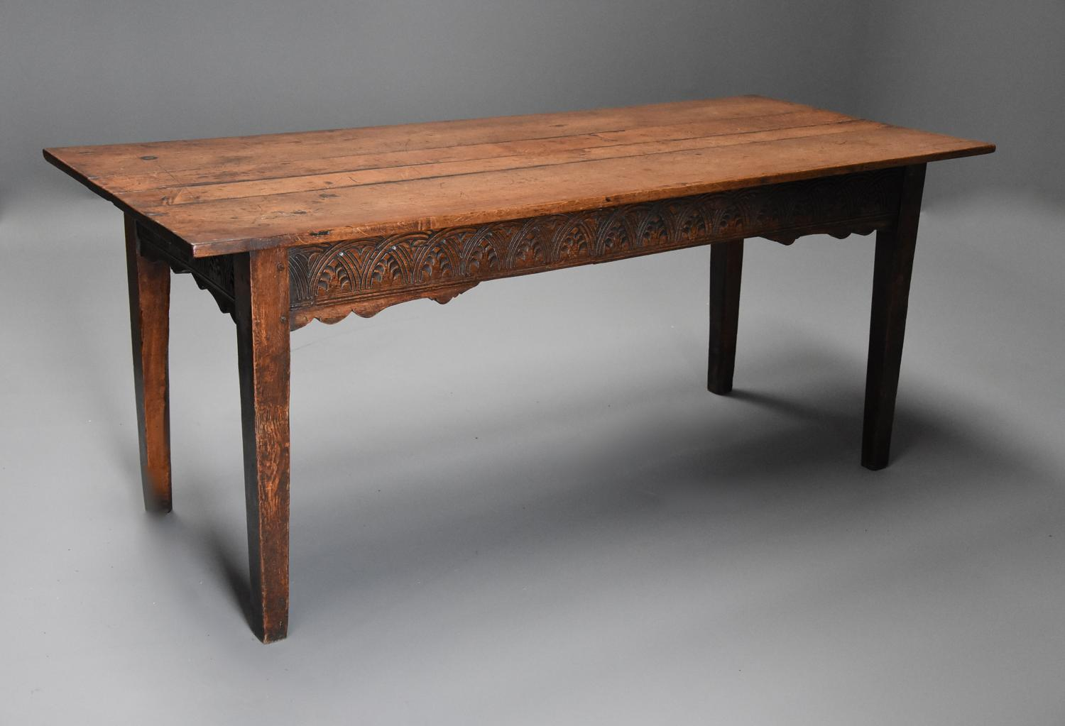 Late 18th century and earlier oak farmhouse table of superb patina