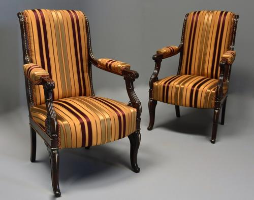 Pair of fine quality 19thc French Empire style rosewood open armchairs