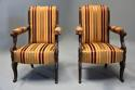 Pair of fine quality 19thc French Empire style rosewood open armchairs - picture 2