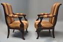 Pair of fine quality 19thc French Empire style rosewood open armchairs - picture 6