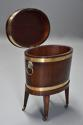 Late 18thc mahogany & brass bound oval cellaret of slender proportion - picture 3