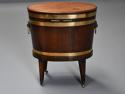 Late 18thc mahogany & brass bound oval cellaret of slender proportion - picture 9