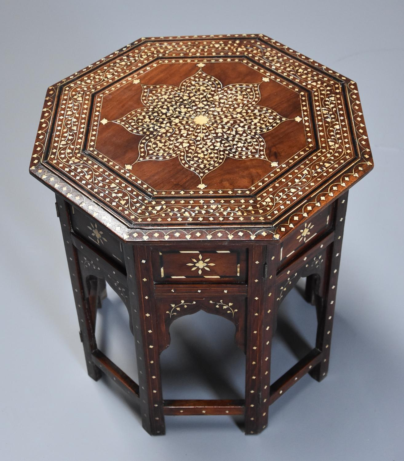 Highly decorative 19thc ivory inlaid Anglo Indian octagonal table