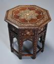 Highly decorative 19thc ivory inlaid Anglo Indian octagonal table - picture 5