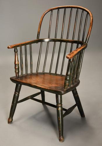 19thc West Country ash hoop back Windsor chair with wonderful patina