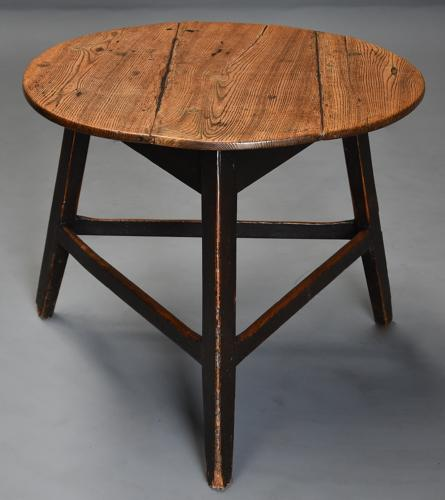Mid 19th century ash cricket table with original painted base