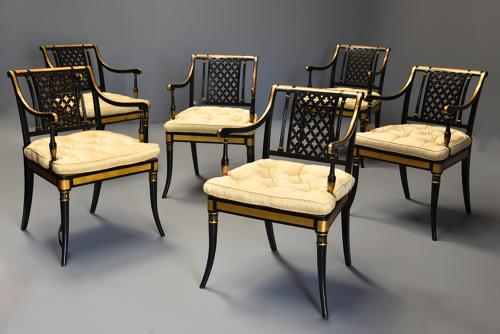 Highly decorative set of six Regency painted & gilt open armchairs