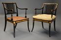 Highly decorative set of six Regency painted & gilt open armchairs - picture 4