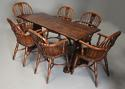 Early 20thc Arts & Crafts oak pegged trestle table with superb patina - picture 10