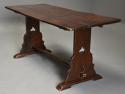 Early 20thc Arts & Crafts oak pegged trestle table with superb patina - picture 2