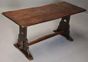 Early 20thc Arts & Crafts oak pegged trestle table with superb patina - picture 3