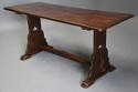 Early 20thc Arts & Crafts oak pegged trestle table with superb patina - picture 5