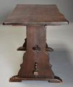 Early 20thc Arts & Crafts oak pegged trestle table with superb patina - picture 6