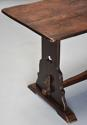Early 20thc Arts & Crafts oak pegged trestle table with superb patina - picture 7