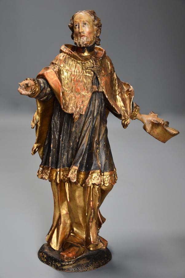 18thc superbly carved polychrome & gilt figure, possibly Saint Peter