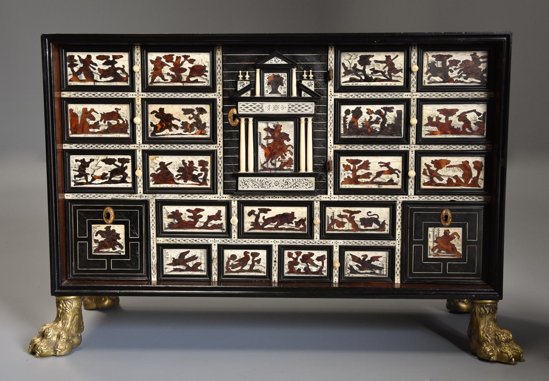 Rare 17thc Italian ebony, ivory & tortoiseshell inlaid table cabinet
