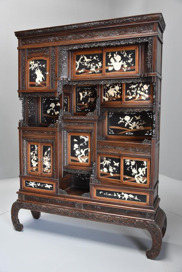 19thc highly decorative large Japanese Meiji period shodana cabinet
