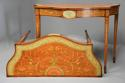 Superb pair of Sheraton revival satinwood & painted console tables - picture 1