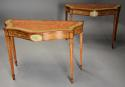 Superb pair of Sheraton revival satinwood & painted console tables - picture 2