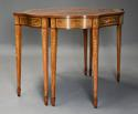 Superb pair of Sheraton revival satinwood & painted console tables - picture 3