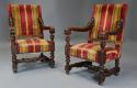 Fine pair of 19thc French walnut open armchairs in the Baroque style - picture 1