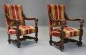 Fine pair of 19thc French walnut open armchairs in the Baroque style - picture 2