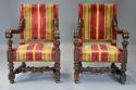 Fine pair of 19thc French walnut open armchairs in the Baroque style - picture 3