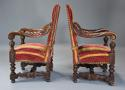 Fine pair of 19thc French walnut open armchairs in the Baroque style - picture 4