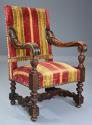 Fine pair of 19thc French walnut open armchairs in the Baroque style - picture 6